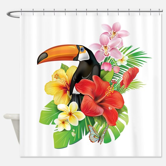 Tropical Toucan Collage Shower Curtain