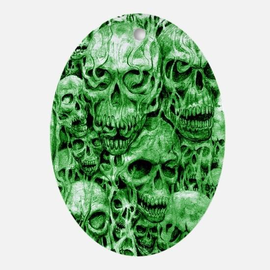 skull 67 dark green shade tall Oval Ornament