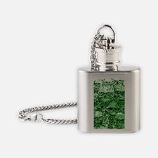 skull 55 dark green shade tall Flask Necklace