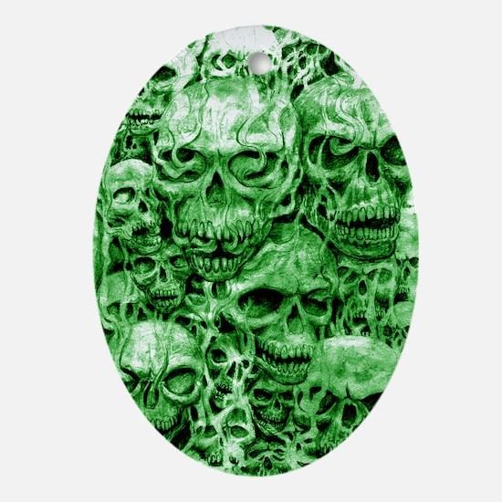 skull 55 dark green shade tall Oval Ornament
