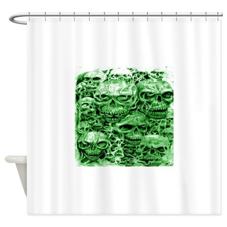 Skull 24 Dark Green Shade Large Shower Curtain By Admin CP68685158