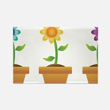 Pretty Flowers in Pots Rectangle Magnet