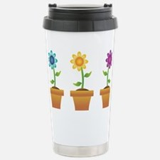 Pretty Flowers in Pots Stainless Steel Travel Mug