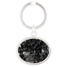 equationsblktransparent Oval Keychain