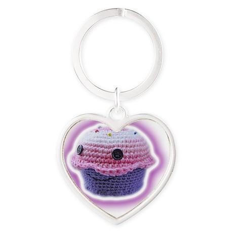 Yarn Cupcake Heart Keychain