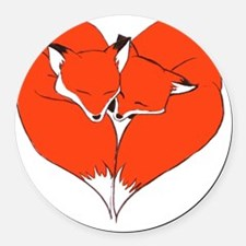 Foxes Mate for Life Round Car Magnet