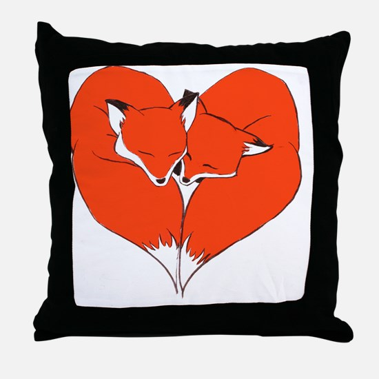 Foxes Mate for Life Throw Pillow