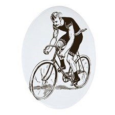 Retro Cyclist Oval Ornament