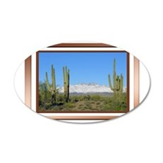 Snowy Four Peaks with Border 35x21 Oval Wall Decal
