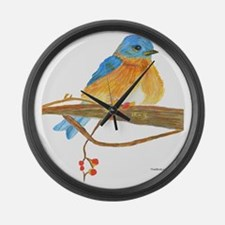 Young male bluebird Large Wall Clock