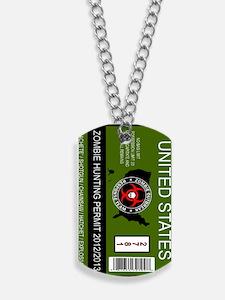 zombie hunting permit keychain Dog Tags