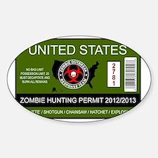 zombie permit rectangle Sticker (Oval)