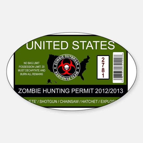 zombie permit rectangle Sticker (Oval)