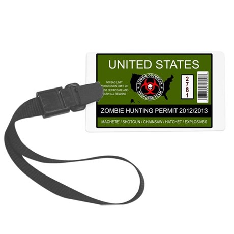 zombie permit rectangle Large Luggage Tag
