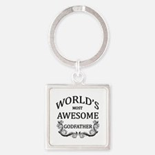 World's Most Awesome Godfather Square Keychain
