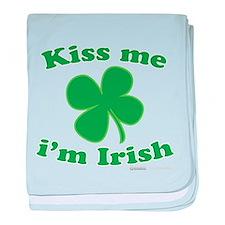 Cute Kiss me im irish baby blanket
