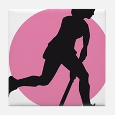 female hockey player Tile Coaster