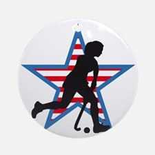 female hockey player Round Ornament