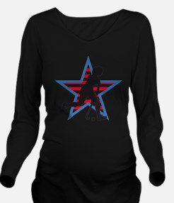female hockey player Long Sleeve Maternity T-Shirt