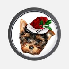 Christmas Yorkshire Terrier dog Wall Clock