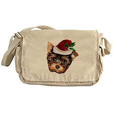 Christmas Yorkshire Terrier dog Messenger Bag