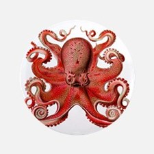 "Red Octopus 3.5"" Button"