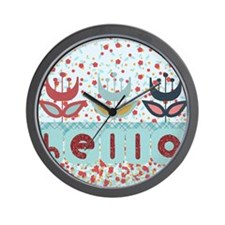 Hello Amsterdam Flowers Wall Clock