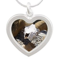 Big Horn Sheep Skull Silver Heart Necklace