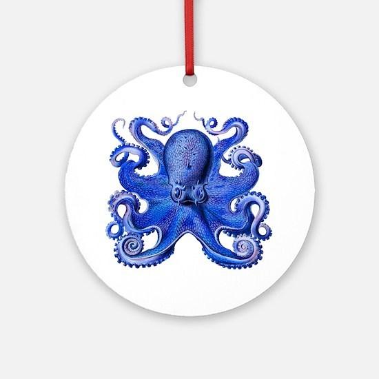 Blue Octopus Round Ornament