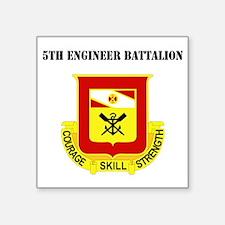 "DUI - 5th Engineer Battalio Square Sticker 3"" x 3"""