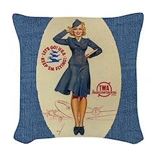 Denim Flight Attendant Wrap Woven Throw Pillow