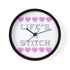 Life's a Stitch - Cross Stitch Wall Clock