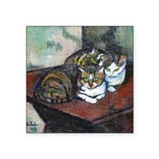 "Suzanne Valadon Two Cats Square Sticker 3"" x 3"""