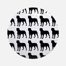 Rottweiler Silhouette Flip Flops In Round Ornament