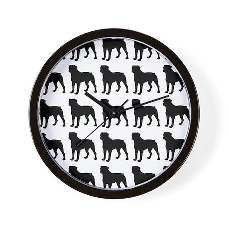 Rottweiler Silhouette Flip Flops In Bla Wall Clock