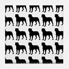 Rottweiler Silhouette Flip Flops In B Tile Coaster