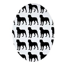 Rottweiler Silhouette Flip Flops In  Oval Ornament