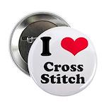 I Love Cross Stitch Button