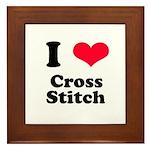 I Love Cross Stitch Framed Tile