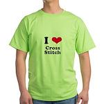 I Love Cross Stitch Green T-Shirt