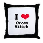 I Love Cross Stitch Throw Pillow