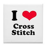 I Love Cross Stitch Tile Coaster