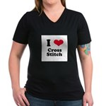 I Love Cross Stitch Women's V-Neck Dark T-Shirt