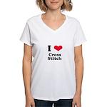I Love Cross Stitch Women's V-Neck T-Shirt
