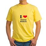 I Love Cross Stitch Yellow T-Shirt