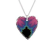 Vertical Mandlebrot Set Necklace Heart Charm
