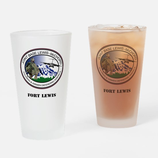 Fort Lewis with Text Drinking Glass