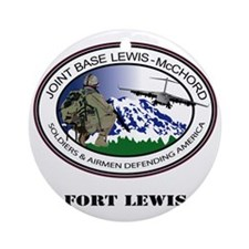 Fort Lewis with Text Round Ornament