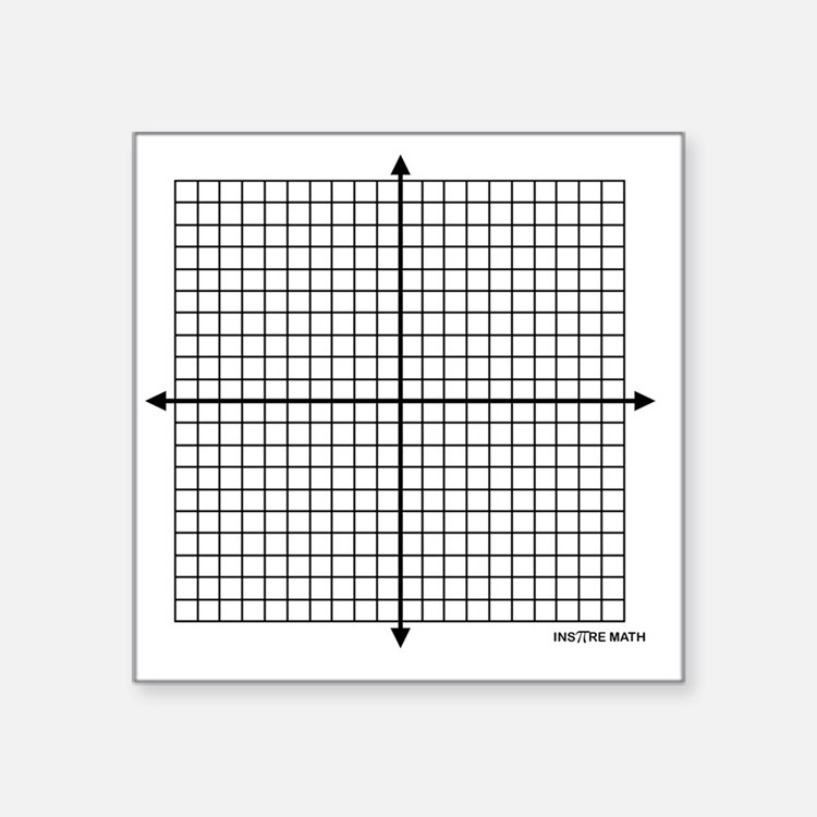 "Four quadrant math graph pa Square Sticker 3"" x 3"""