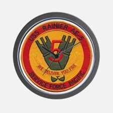 uss rainier patch transparent Wall Clock